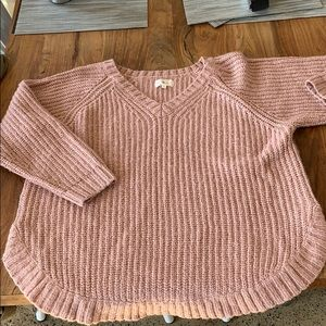 Ann Taylor loft Lou and Grey pink v-neck sweater